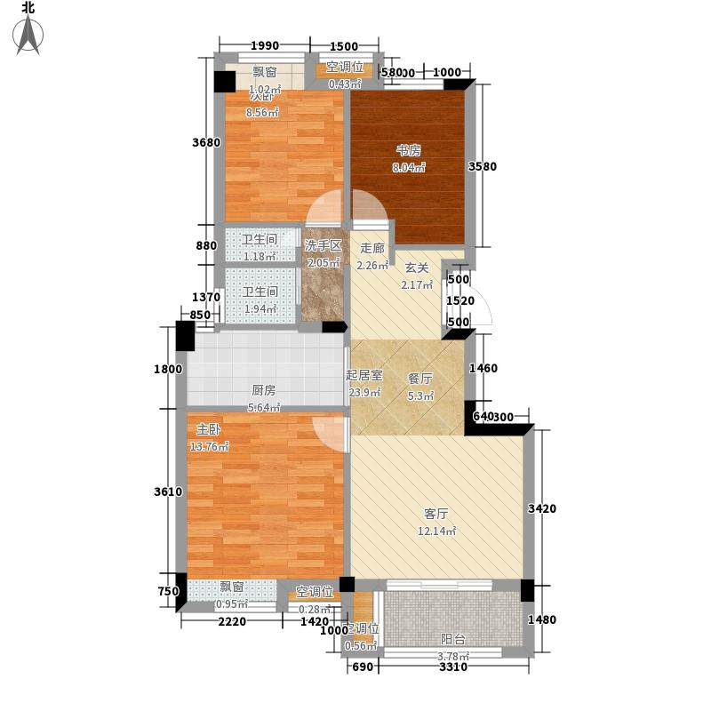 融科花满庭89.00㎡8号楼C2户型3室2厅