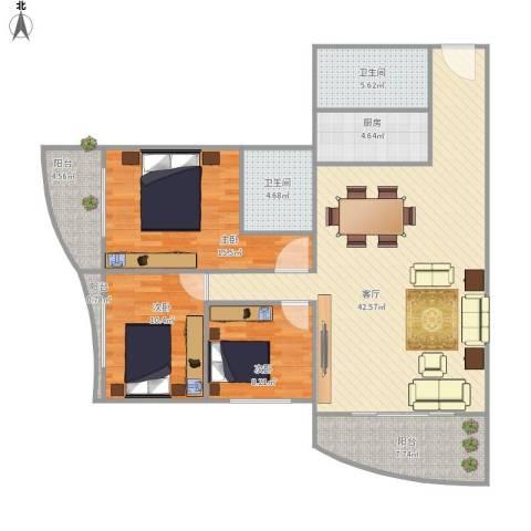 假日香港广场3室1厅2卫1厨126.00㎡户型图