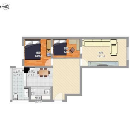 湖畔兰亭・荣域2室1厅1卫1厨83.00㎡户型图