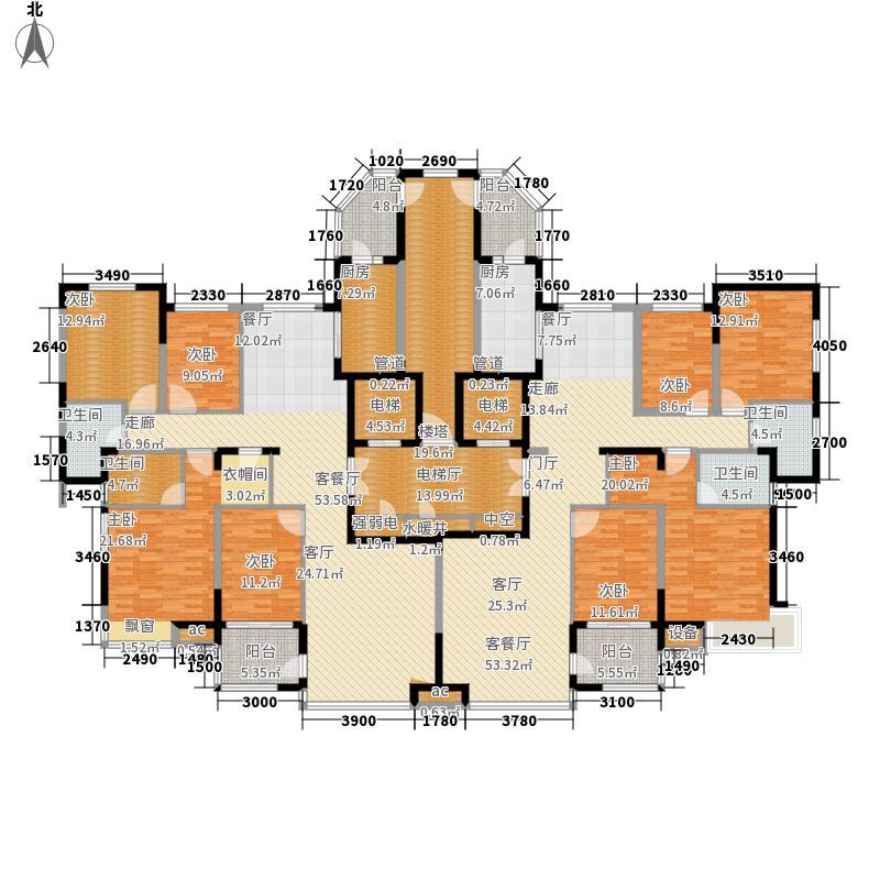 恒大绿洲6号楼一单元户型4室2厅