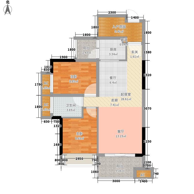 王洲湾1号80.00㎡3-5栋户型2室2厅