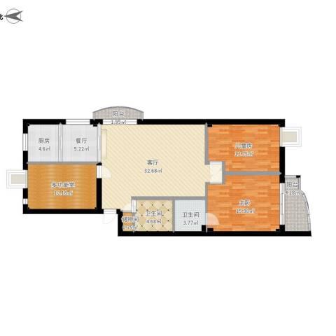 鹦鹉花园(五期)2室2厅2卫1厨152.00㎡户型图