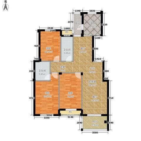 江湾华庭3室0厅2卫1厨123.00㎡户型图