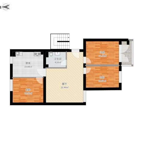 草桥欣园四区3室1厅1卫1厨107.00㎡户型图