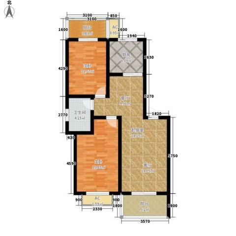 江湾华庭2室0厅1卫1厨91.00㎡户型图