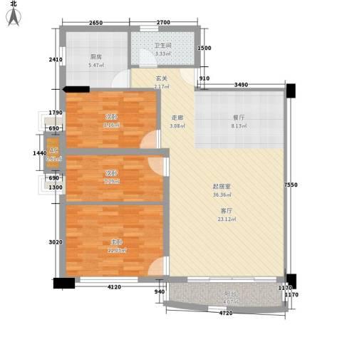 紫林居3室0厅1卫1厨85.00㎡户型图