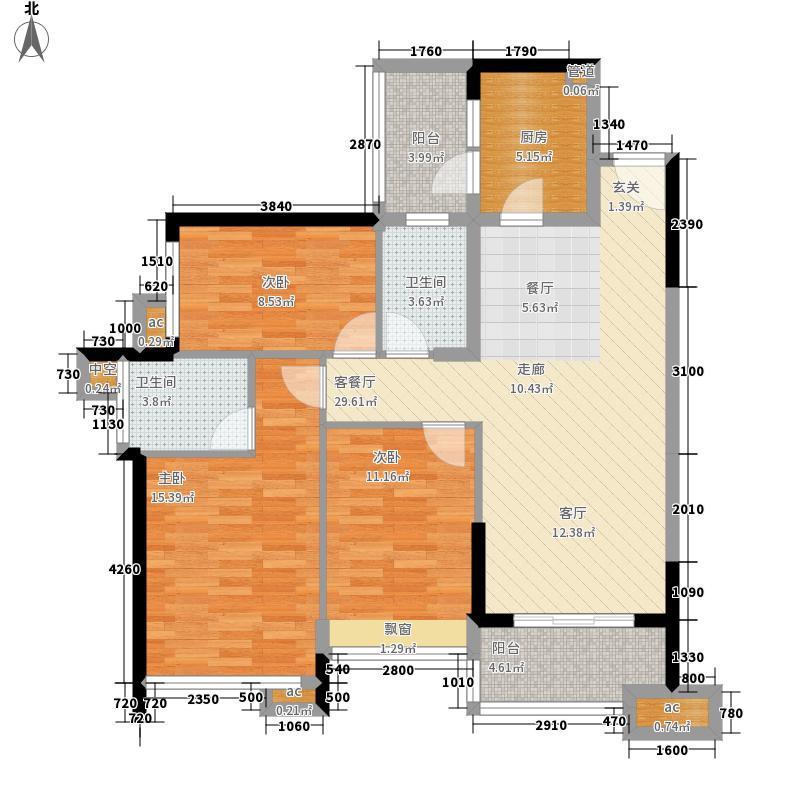 雅居乐山海间111.00㎡C1户型3室2厅