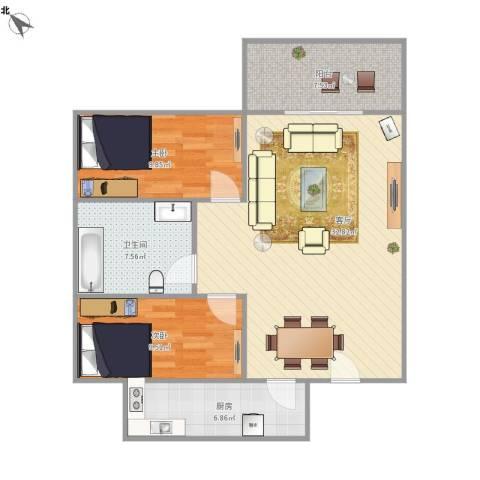 宇峰苑2室1厅1卫1厨99.00㎡户型图