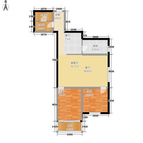 翰林雅居2室1厅2卫1厨94.00㎡户型图