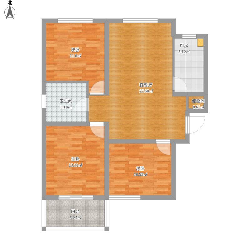 A户型三室两厅一卫一厨