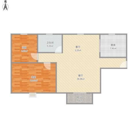 杉林新月家园2室1厅1卫1厨104.00㎡户型图