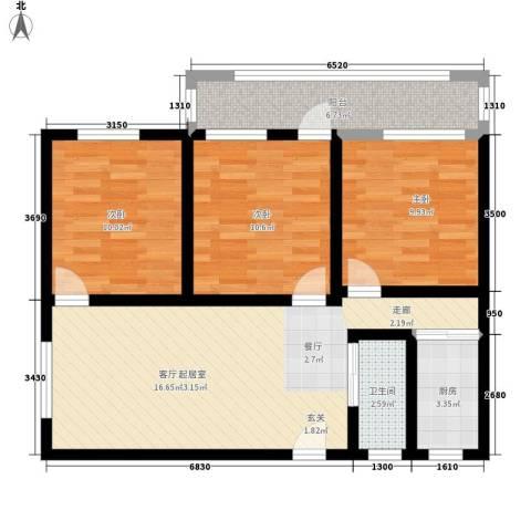 华师宿舍3室0厅1卫1厨78.00㎡户型图