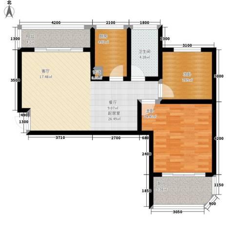 融圣国际2室0厅1卫1厨91.00㎡户型图