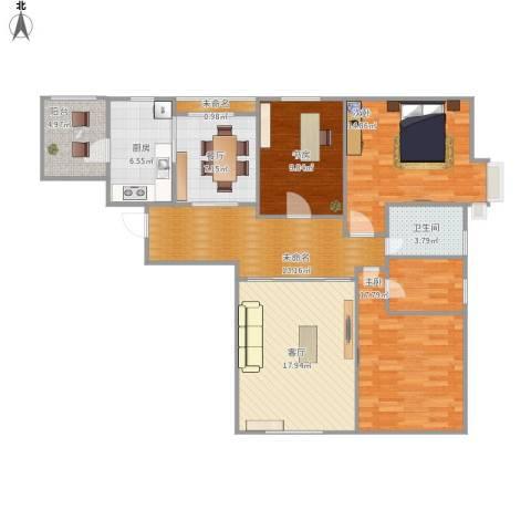 北辰红星国际广场3室2厅1卫1厨132.00㎡户型图