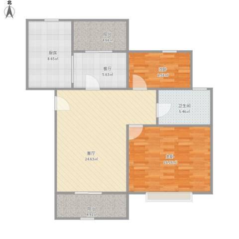 好日子大家园D区2室2厅1卫1厨103.00㎡户型图