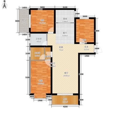 宏鑫锦江国际3室1厅2卫1厨133.00㎡户型图