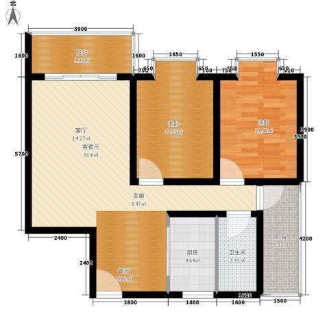 宏鑫锦江国际2室1厅1卫1厨93.00㎡户型图