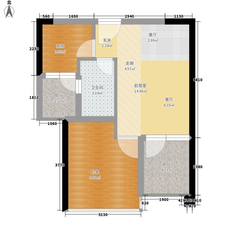 THETOWN乐城51.00㎡THE-TOWN乐城4栋b-户型1室2厅