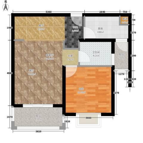 保利金爵公寓1室1厅1卫1厨65.00㎡户型图