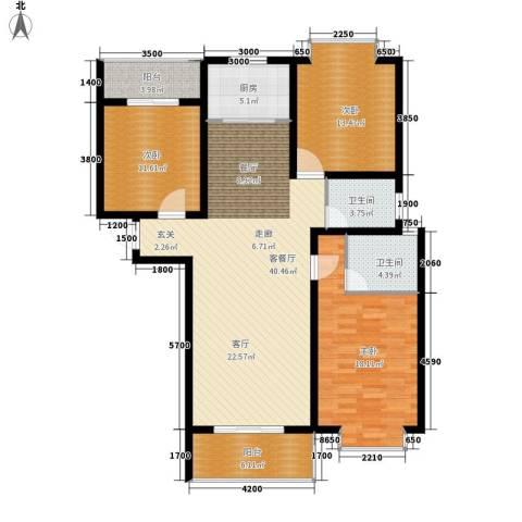 宏鑫锦江国际3室1厅2卫1厨134.00㎡户型图