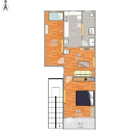 中德亚运村2室1厅1卫1厨105.00㎡户型图