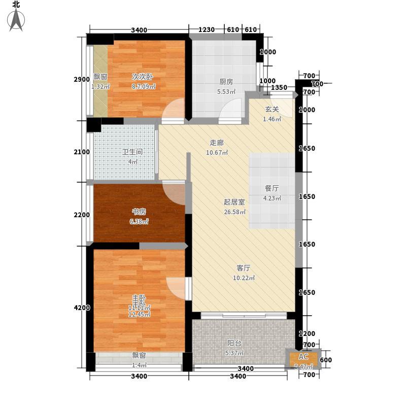 金地国际公寓88.00㎡M2a面积8800m2户型3室2厅