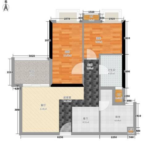 西门口广场2室0厅1卫1厨61.50㎡户型图