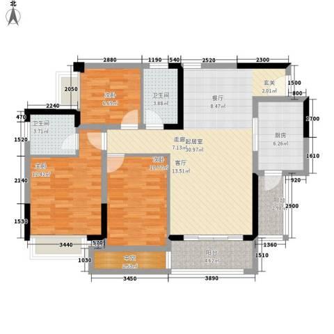 星誉花园3室0厅2卫1厨104.00㎡户型图
