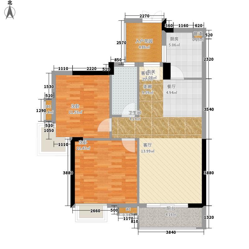 翡翠绿洲91.00㎡凡尔赛宫二期N型02单元2室户型
