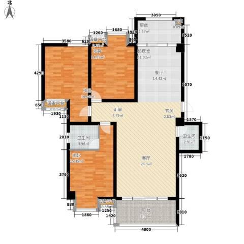 御笔华府3室0厅2卫1厨142.00㎡户型图
