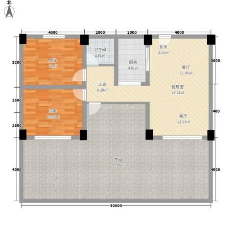 张家围17号花园2室0厅1卫1厨156.00㎡户型图