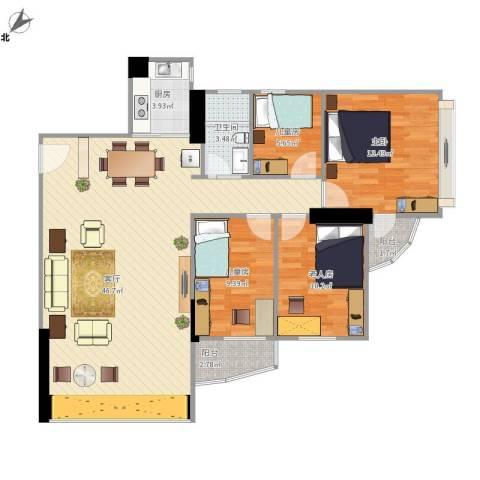 碧水明筑4室1厅1卫1厨134.00㎡户型图