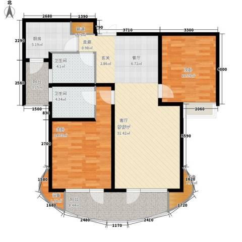 爱家星河国际2室1厅2卫1厨108.00㎡户型图