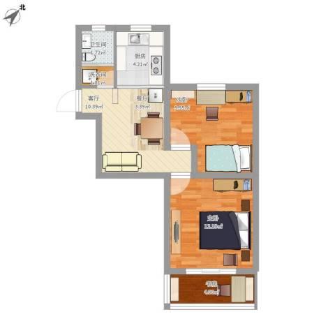 莘松六村3室1厅1卫1厨64.00㎡户型图