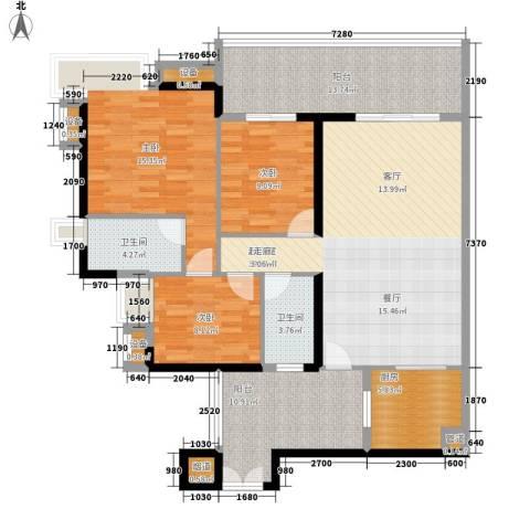 富力金禧花园3室0厅2卫1厨120.00㎡户型图