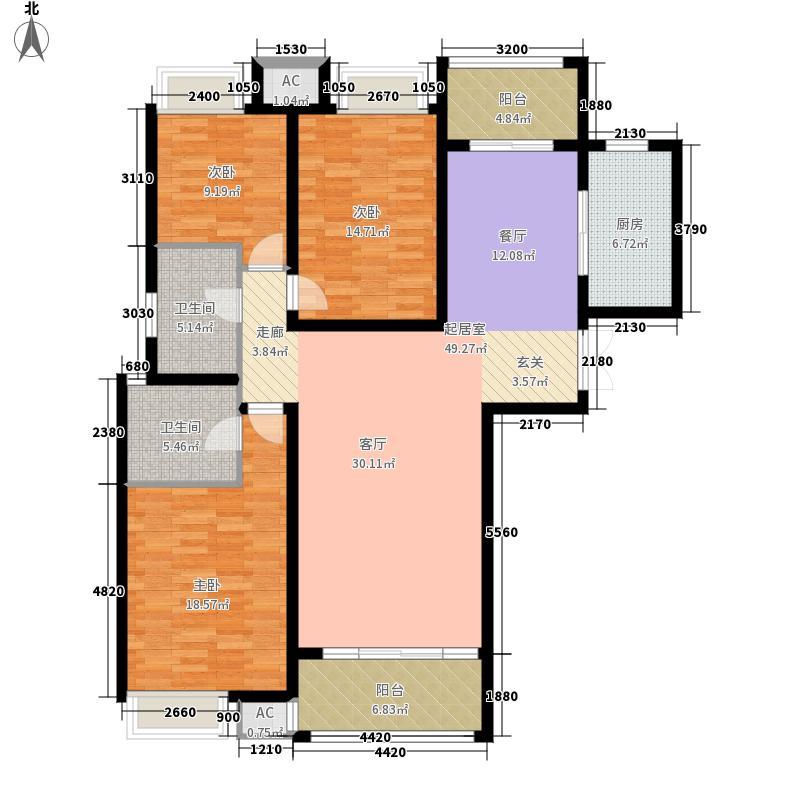 郑州升龙天汇广场136.50㎡2位户型3室2厅