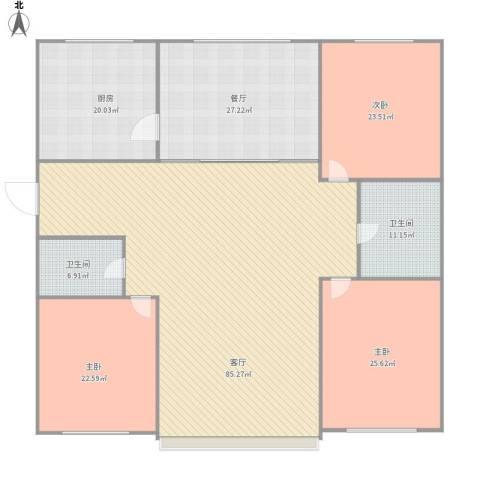 首府洋房3室2厅2卫1厨291.00㎡户型图