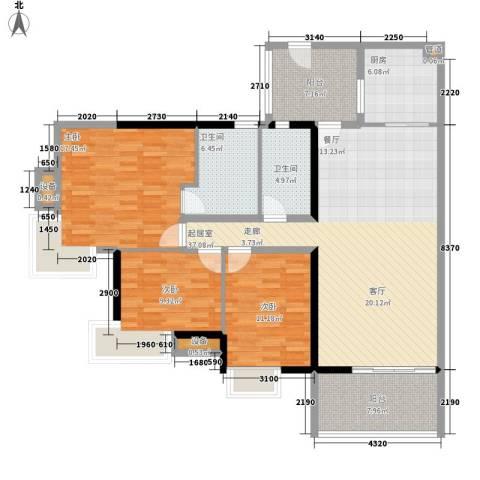 富力金禧花园3室0厅2卫1厨124.00㎡户型图