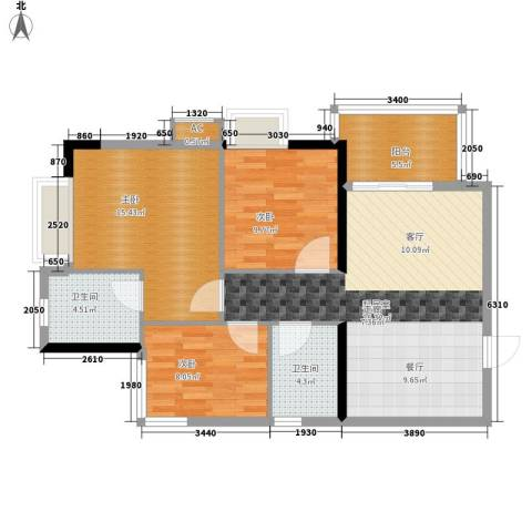 西门口广场3室0厅2卫0厨84.00㎡户型图
