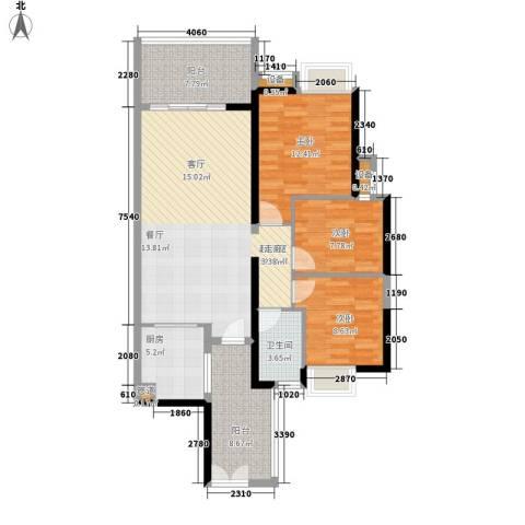 富力金禧花园3室0厅1卫1厨100.00㎡户型图