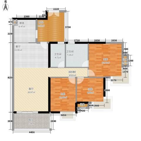 富力金禧花园3室0厅2卫1厨125.00㎡户型图