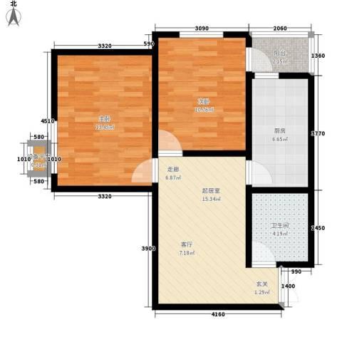 上洋国际2室0厅1卫1厨75.00㎡户型图