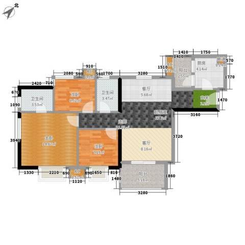 西门口广场3室0厅2卫1厨88.00㎡户型图