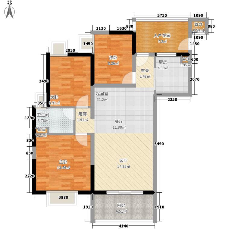 富力金禧花园98.00㎡A2栋04单元面积9800m户型