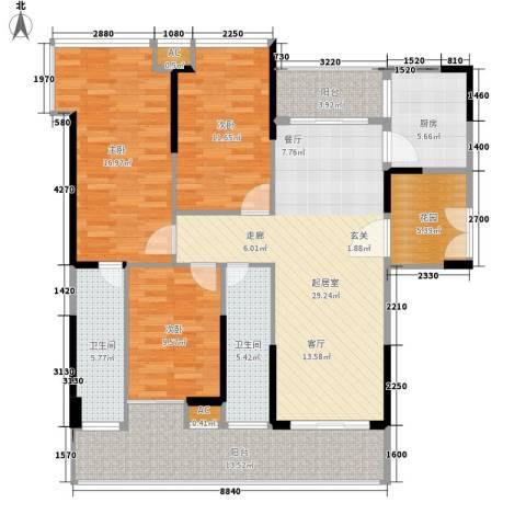 京海成・鹿港溪山3室0厅2卫1厨151.00㎡户型图
