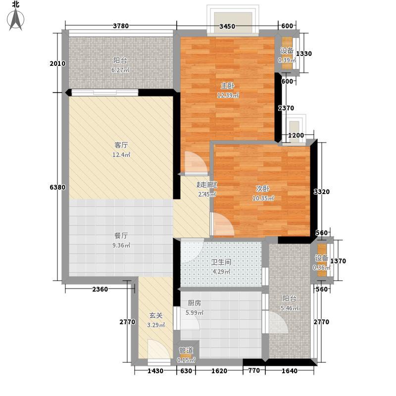 富力金禧花园84.00㎡A2栋6-222面积8400m户型