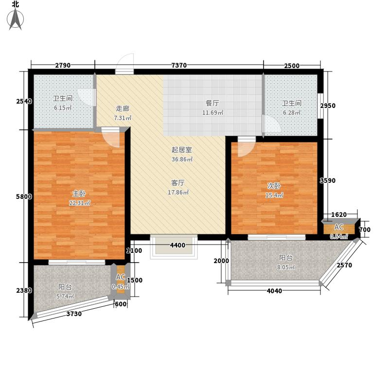 绿地世纪城塞纳公馆101.13㎡B4户型2室2厅