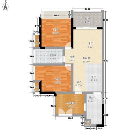 京海成・鹿港溪山2室0厅1卫1厨93.00㎡户型图