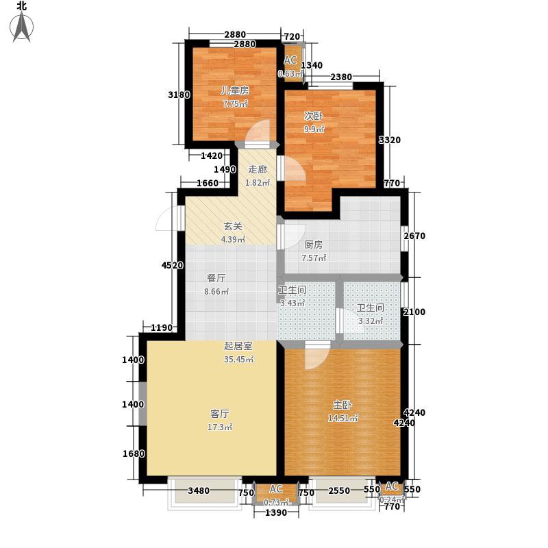 万科金域华府92.00㎡洋房标准层A1户型2室2厅