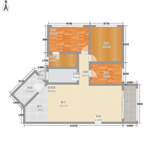 鸿景园3室0厅2卫1厨119.00㎡户型图